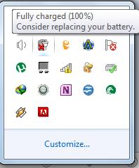 """Из-за чего возникает ошибка """"рекомендуется заменить батарею на ноутбуке""""?"""