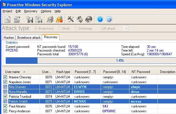 загрузить скачать Proactive Windows Security Explorer для восстановления пароля