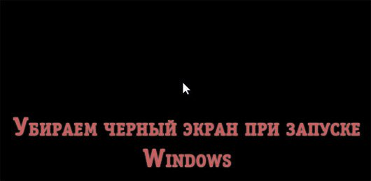 Убираем черный экран при запуске Windows