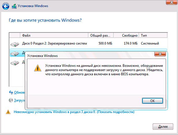 Ошибка при установке системы: установка Windows на диск невозможна